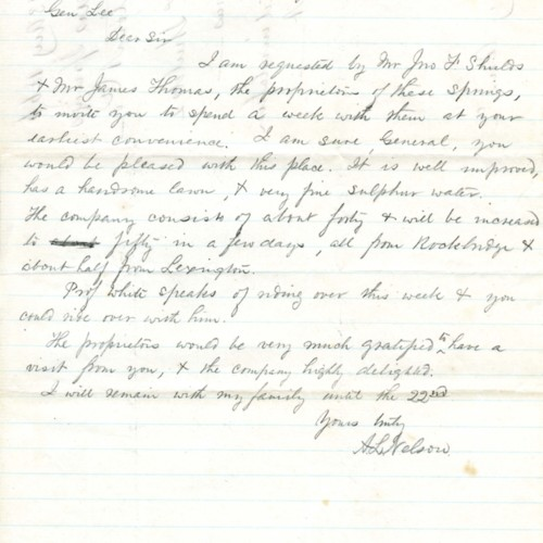 Letter from A. L. Nelson to R. E. Lee (correspondence)