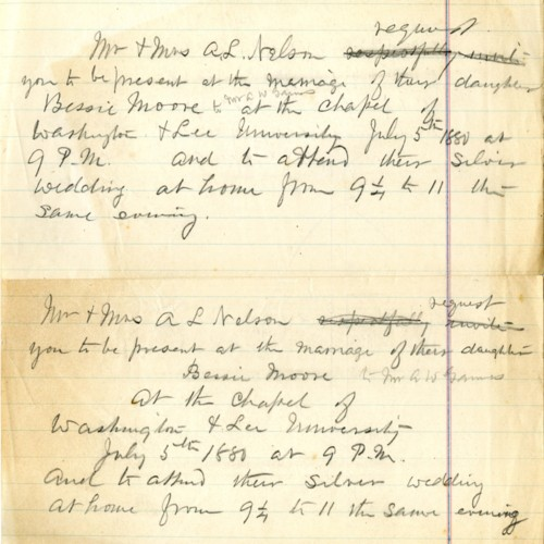 Draft of a wedding annoucement of the Nelson's daughter, Bessie Moore (correspondence)