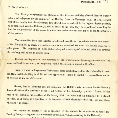 Letter from President G. W. C. Lee to the Student Body Regarding the Opening of the Reading Room (correspondence)