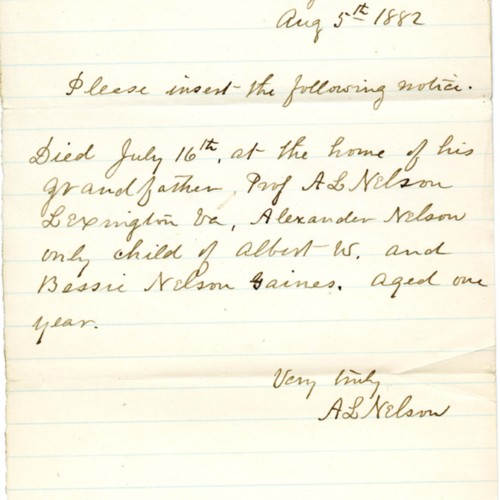 Notice written by A. L. Nelson to be posted in the newspapers regarding the death of his grandchild